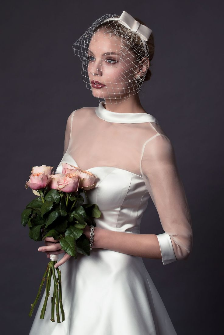 Rita Mae By Alan Hannah 2015 Bridal Tea Length Wedding Dress Three Quarter Illusion Sleeves Style 509 Close Up Bodice
