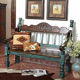 King Ranch Antiqued Turquoise Bench