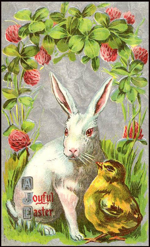 Vintage Card with an Easter Bunny and a Chick