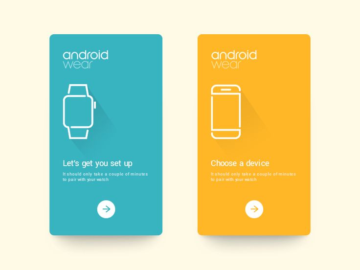 Daily UI #50 - Android Wear Trying out a minimalistic look for Android Wear onboarding screens.