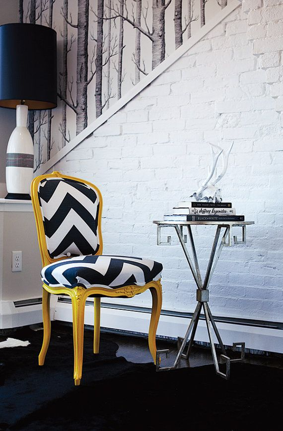Yellow & Charcoal Chevron French Provincial Side Chair: Sillas Sillones Chairs, Exposed Brick Walls, Chairs 392, Chairs Chevron, Fabrics, Fun Chairs, Chairs Color, Yellow Chairs, Side Chairs