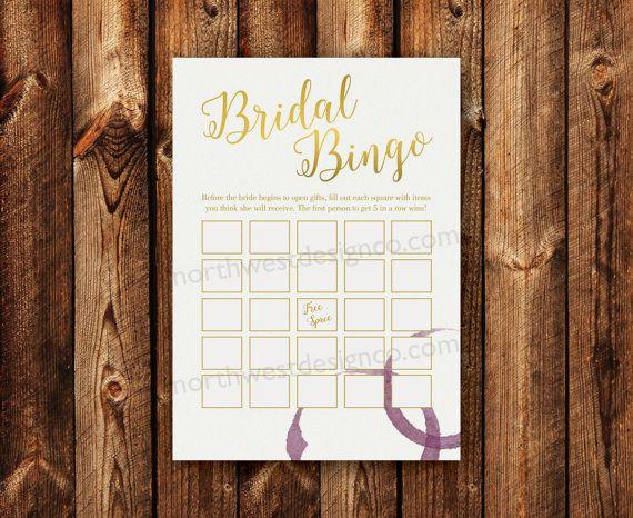 DIGITAL - Bridal Shower Bingo Gold Bling Wine Ring Wine Themed Bridal Bingo Printable Download Wedding Shower Game Cards for the Bride