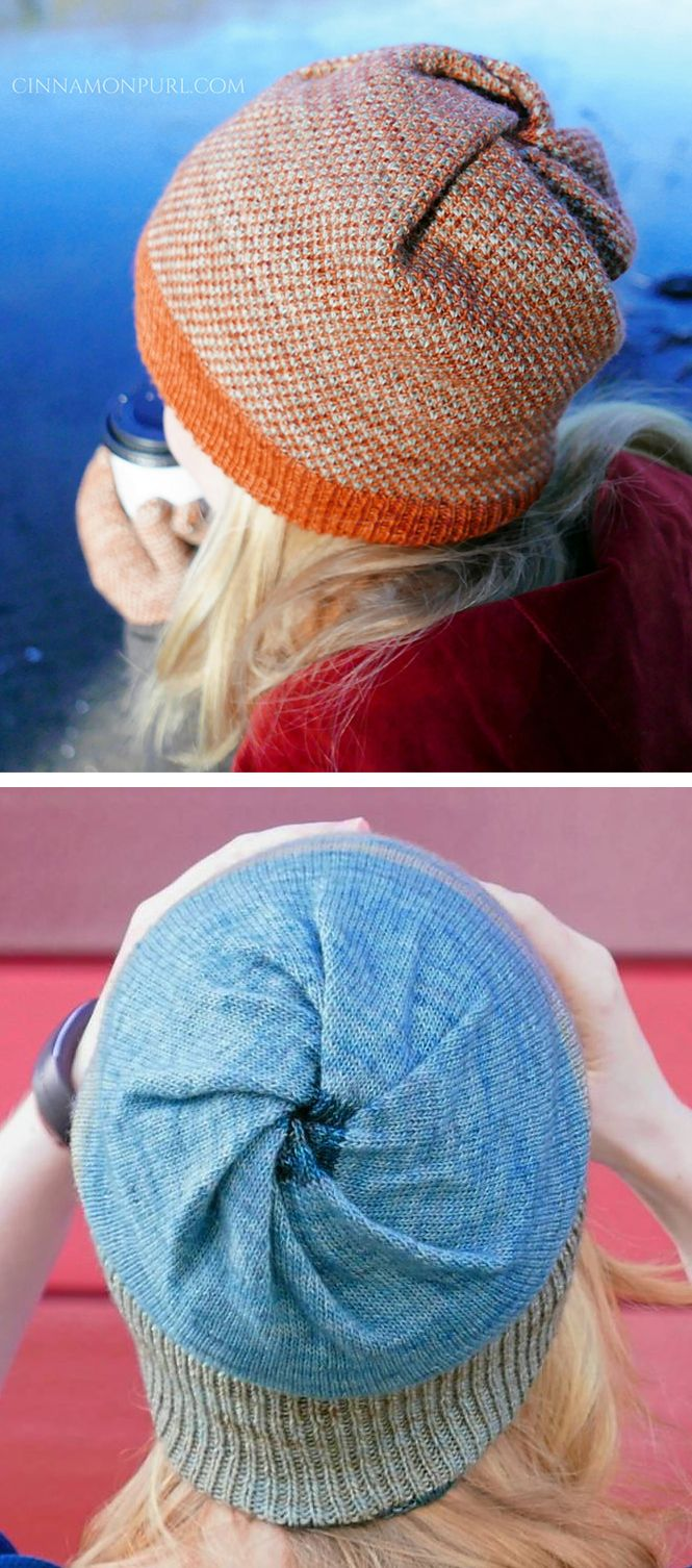 Free Knitting Pattern for Cyclone Hat - Beanie with twisted crown and no increasing or decreasing. Double layered so it's reversible. Easily customizable to any weight yarn or stitch pattern. Designed by Cinnamon Purl / MyGurumi