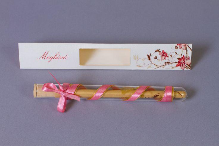 Rózsaszín kémcsöves esküvői meghívó _ light pink message in bottle wedding invitation