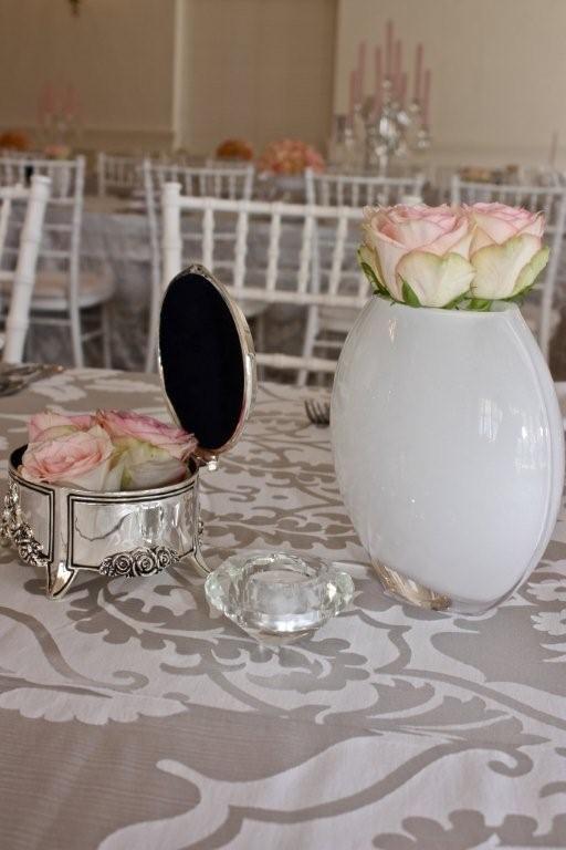 Silver Fleur http://www.tableclothhiring.co.za/