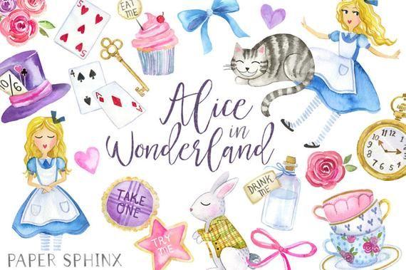 Alice In Wonderland Clipart Watercolor Alice In Wonderland Cheshire Cat Tea Party Fairytale Instant Download Png Files Alice In Wonderland Clipart Alice In Wonderland Clip Art
