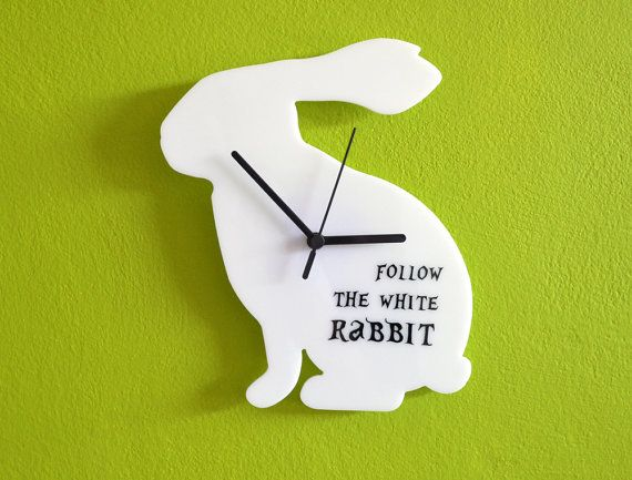 Because he loves Alice in Wonderland Follow the White Rabbit Wall Clock van ObjectIndustrialArt op Etsy, $25.50