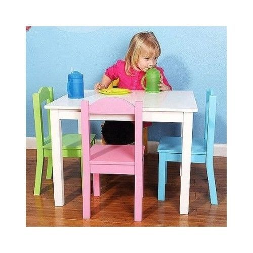 Table 4 Chairs Kids Play Set Pastel Day Care Tea Party Art Projects Children Tot #TotTudors