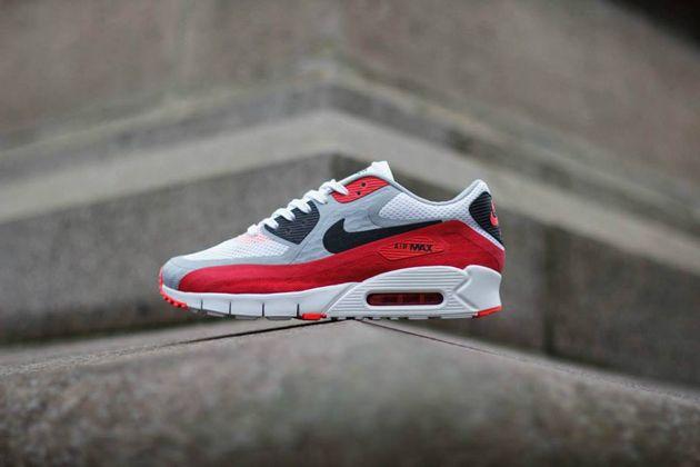 Nike Air Max 90 Breathe – White / Black   Wolf Grey   University Red