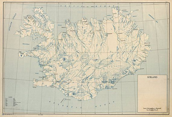 Map Of Iceland 1949.  Restoration Hardware Home Deco Style Old Wall Vintage Reprint.  Varies sizes available.