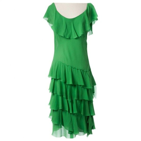 Pre-owned Sonia Rykiel Silk Mid-Length Dress ($183) ❤ liked on Polyvore featuring dresses, green, women clothing dresses, green white dress, mid length dresses, green mid length dress, green cocktail dress and mid length cocktail dresses
