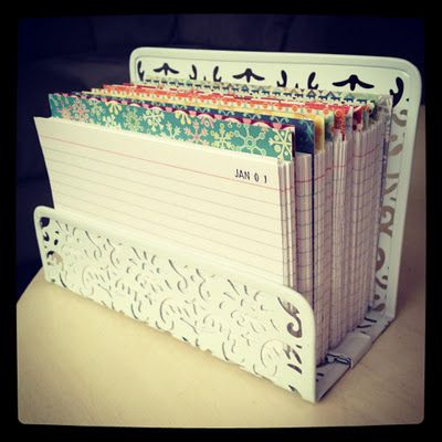 This is a one-liner journal. There is one index card for each day of the year. You write the date: then a sentence about what you did that day. Cycle through, and you should be able to do this for 14 years because there are 14 lines on the index cards!