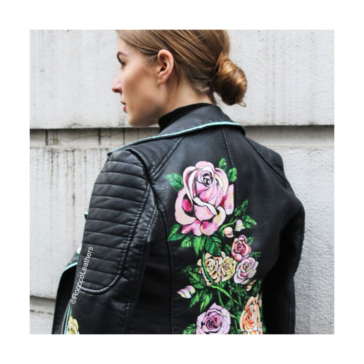 LCM street style spotted #handpainted #bespokejacket #leatherjacket #handpaintedleather #leather #rococo #rococoleathers #painting
