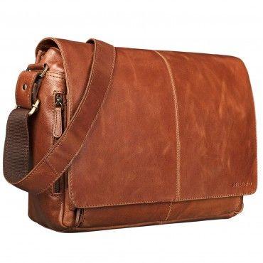 """STILORD """"Alex"""" Vintage Ledertasche Männer Frauen Businesstasche zum Umhängen 15,6 Zoll Laptoptasche Aktentasche Unitasche Umhängetasche Leder Farbe: cognac - glänzend"""