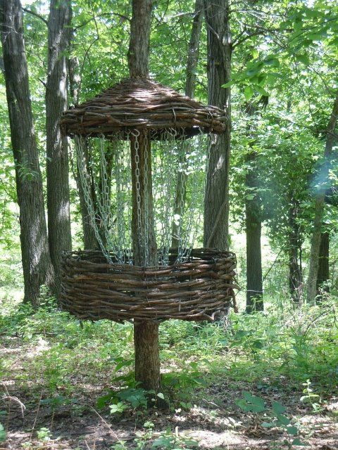Made from scratch disc golf hole! We have one at bucksnort that is made of bent wood--so special-these baskets!