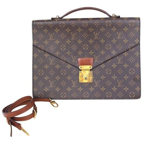 100% Authentic Louis Vuitton Monogram Monceau Briefcase Brown Satchel ($860) ❤ liked on Polyvore featuring bags, satchel bag, satchel handbags, brown satchel handbag, louis vuitton satchel and handbag satchel