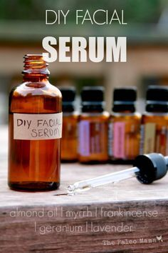 DIY Facial Serum The Paleo Mama INGREDIENTS: 50ml glass dropper bottle (where to buy online) – we save old stevia bottles and use them for things like this! 4 Tablespoons of Almond oil (where to buy) or Jojoba oil (where to buy) 7 drops each of Lavender, Frankincense, Geranium, and Myrrh Essential Oils (where to buy) Empty 2 capsules of Vitamin E (OPTIONAL) DIRECTIONS: Add everything to your glass dropper bottle. Shake. Apply at night before bed!