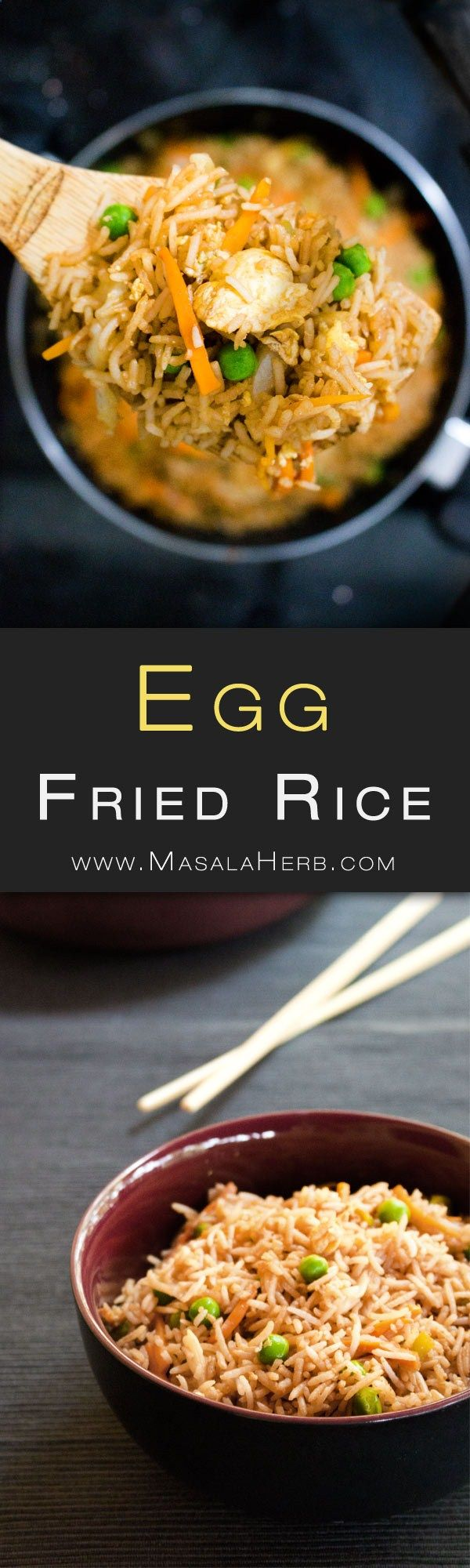 Quick  Easy Egg Fried Rice Recipe - How to make egg fried rice Indian Style [ video]. Make your own egg fried rice weeknight dinner with left over rice in less then 15 minutes. Falvorfull and comforting. www.MasalaHerb.com