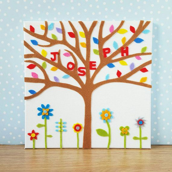 Personalised Childrens Wall Art. Felt Rainbow Tree by BunbyAndBean