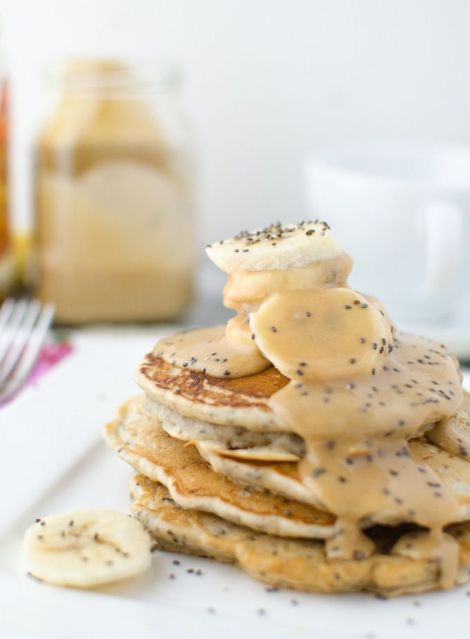 Vegan Chia Pancakes with Peanut Syrup - Delicious Knowledge
