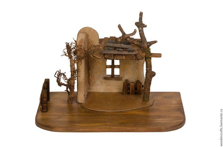 Купить Рождественский вертеп - коричневый, вертеп, дом деревянный, дом, рождество, Библия, дерево