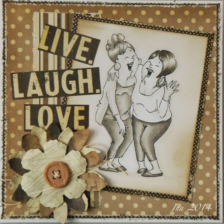 Art Impressions: Ai Girlfriends Laughing set. Handmade friendship card.