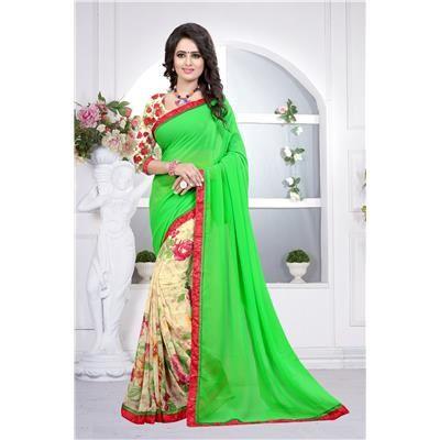 Buy Saiveera Awesome Parrote Green Bridal Half N Half Georgette Saree/sari by Saiveera Fashion, on Paytm, Price: Rs.1249?utm_medium=pintrest  #Manufacturer #Embroidery  #Wholesaler  #Retailar  #Embroidery #Salwar Suit #Cotton,Fancy, Kurtis #Printed Saree #ChanderiCotton,Cotton Dress Material