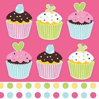 Sweet Treats Luncheon Napkin Look at those #cupcakes!