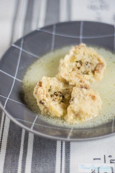 I canederli con cuore al tartufo in brodo di parmigiano