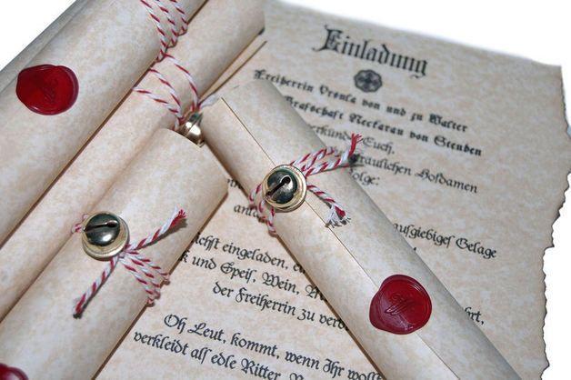 10x+Einladung+Mittelalter+Hochzeit+Geburtstag+Dank+von+Kartenboutique+auf+DaWanda.com