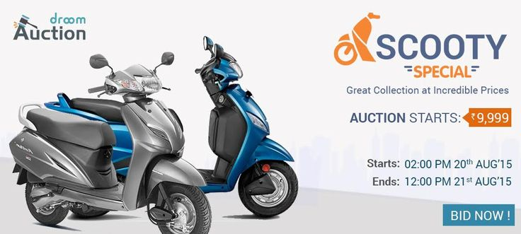 It's time to say Hurray! Scooty Special Auctions is back for another Day.  Bidding starts at unbelievable prices, grab your chance now: http://droom.in/auctions