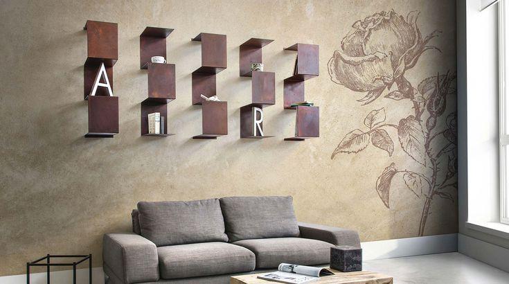Libreria design a parete in metallo Segmento. Complemento di arredo moderno che utilizzato come insieme forma una vera e propria libreria modulare.
