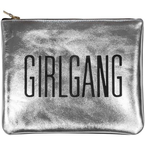 Sarah Baily - Mini Clutch Girlgang Silver ($220) ❤ liked on Polyvore featuring bags, handbags, clutches, silver hand bag, mini pochette, man bag, mini purse and silver handbag