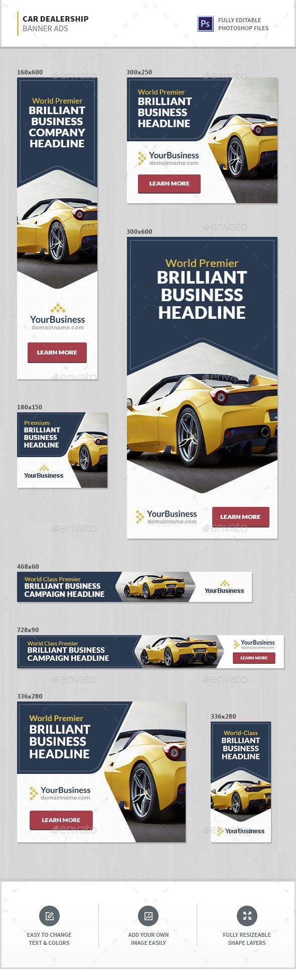 Car Dealership Banner Ads Templates PSD. Download here: http://graphicriver.net/item/car-dealership-banner-ads/16300188?ref=ksioks