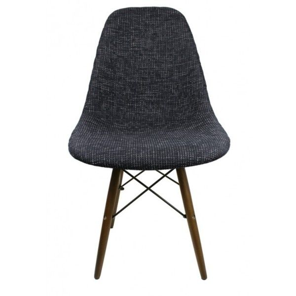 Contemporary Retro Molded Eames-style Woven Fabric Slope Side Plastic Dining Chair with Dark Wood Eiffel Legs