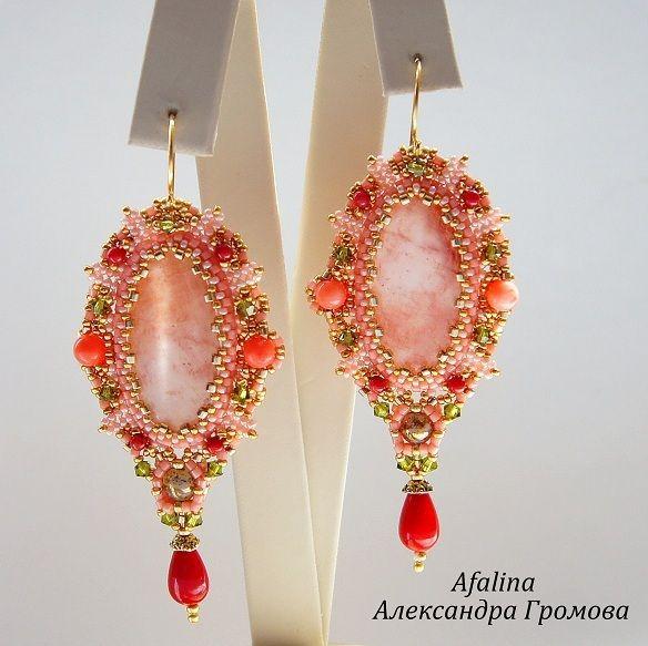 """Купить Комплект """"Корал шарм"""" - коралловый, оливковый, золотой, персиковый, красный, розовый коралл, серьги"""