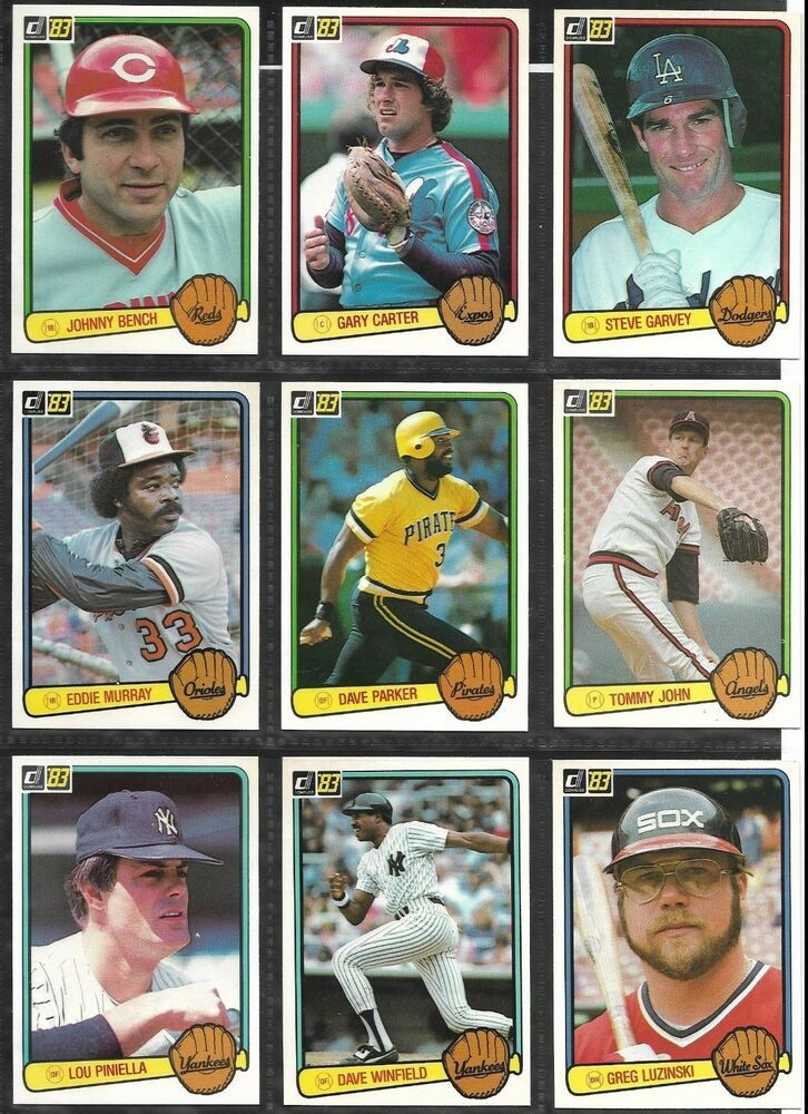 Donruss 1983 Baseball Card Lot Of 9 Cards Johnny Bench Steve Garvey