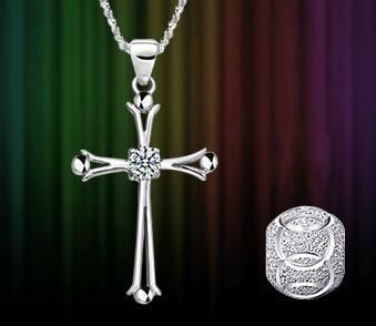 Vackert 925 Silver Halsband Kors Hänge Kedja Strass Nickelfri 40CM