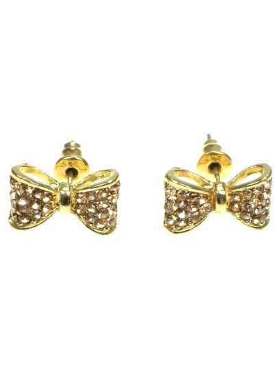 €3,95 per paar bij Deoorbel.nl Goudkleurige oorbellen in de vorm van een strik (steker).  #strik #oorbellen #earring