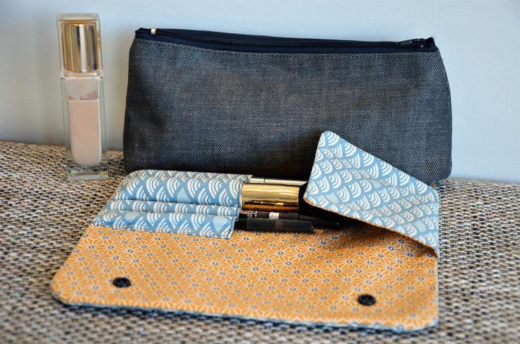 Trousse maquillage et rangement pinceaux, ton bleu : Trousses par caprice-de-coton