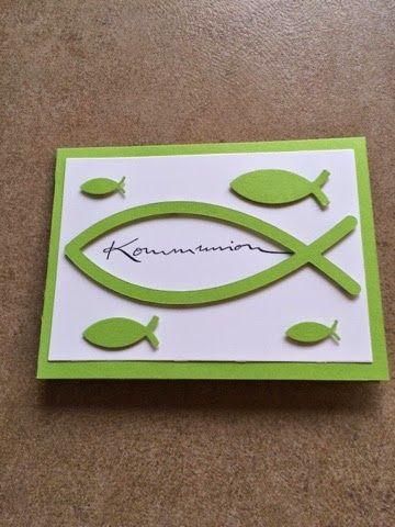 Kommunionkarten # 1  Stempel von Alexandra Renke, großer Fisch wurde mit der Cameo geschnitten.