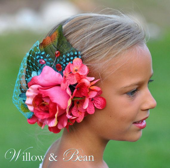 Coral and Teal Rose Hydrangea Headpiece...Flower Girl Hair Accessories, Photo Prop, Wedding Fascinator, Toddler Girls