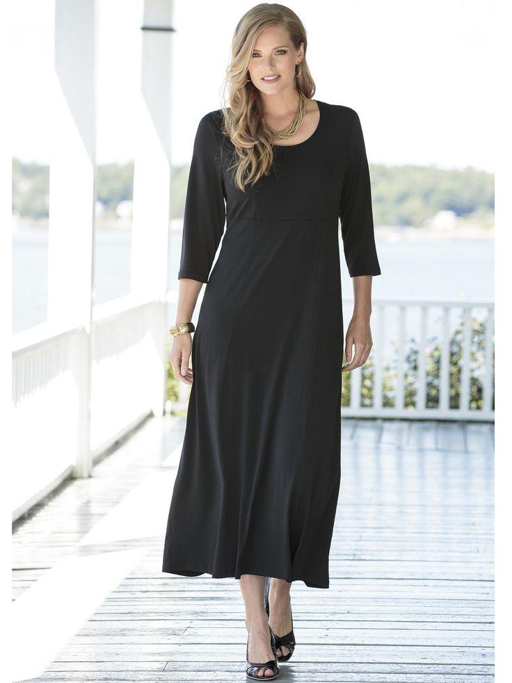 Women's #PlusSize Matte Jersey Princess Seam Empire #Dress
