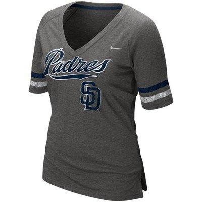 Nike San Diego Padres Ladies Home Run Fan Premium V-Neck T-Shirt - Charcoal $31.95