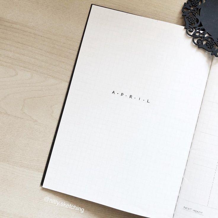 Bullet Journal monatliches Deckblatt, April Deckblatt, minimalistisches Bullet Journal m