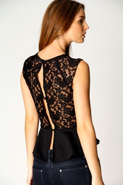 Lace back peplum top