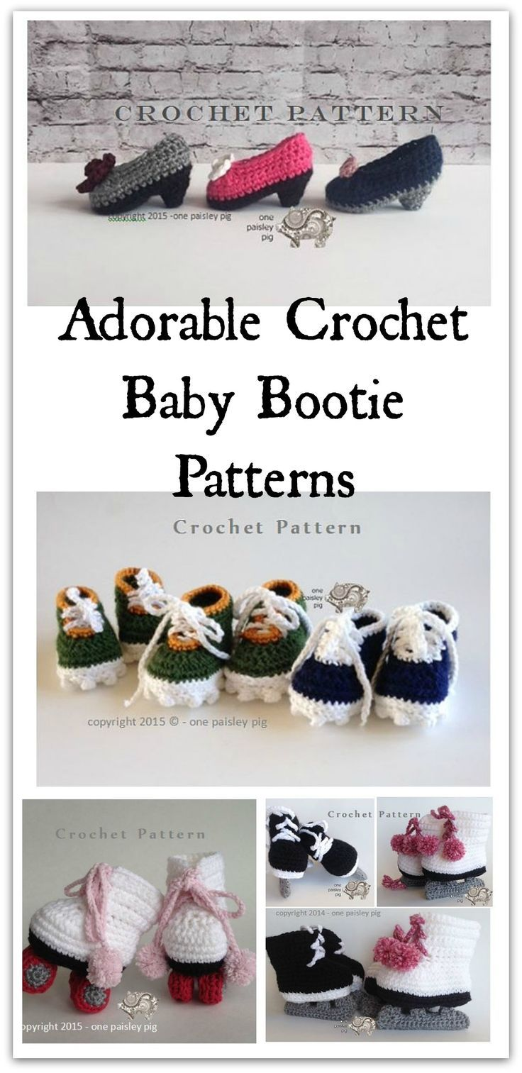Super cute baby booties come in crochet and knit patterns. There are adorable pint size pumps,cleats, roller skates, hockey/figure skates and more.