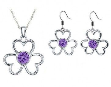 Rhodium Plated Tanzanite Color Fashion Pendant & Earrings Set made with Swarovski Crystals (GS033TZ). #Glimmering #SwarovskiNecklaces #SwarovskiPendantSets #FashionNecklaces #DesignerPendantSet #NecklaceSwarovskiCrystals #CrystalPendant #SwarovskiJewelrySet