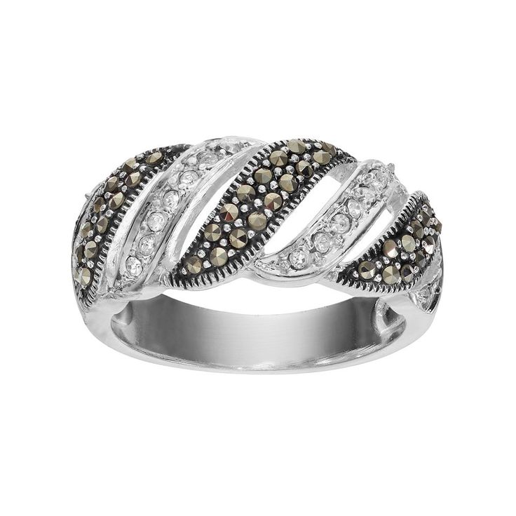 Silver Luxuries Marcasite & Crystal Striped Ring, Women's, Size: 8, Grey
