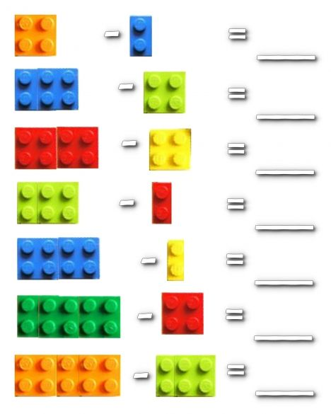 More Lego Math - Subtraction!  (I dunno if Kindergarten teachers teach subtraction , but this is a cute idea.(: